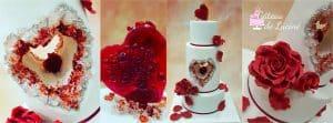 Gâteau de Luciné, montage coeur rouge